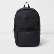 River Island Mens Black front zip pocket backpack