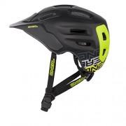 O 'Neal Defender Casco Flat Negro Neon Amarillo All Mountain Enduro Trail bicicleta de montaña, 0502d de 90, M (56- 59 cm)