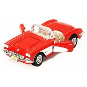 1959 Chevy Corvette Convertible, Red - Motormax 73216 - 1/24 scale Diecast Model Toy Car