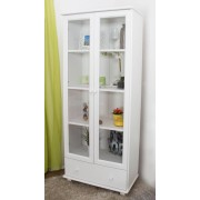 Steiner Shopping Furniture Display Cabinet B008, solid pine wood, clear finish - H190 x W80 x D42 cm