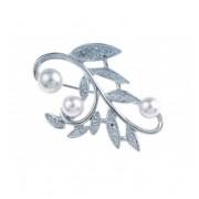 """Брошка """"Leaf Pearl"""" - родий + кристал"""