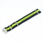 cinturino nato straps nero e verde ansa 18 mm