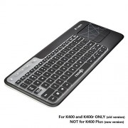 COSMOS Ultra Thin silicone soft keyboard cover skin for Logitech Wireless Touch Keyboard K400 and K400r (Black)