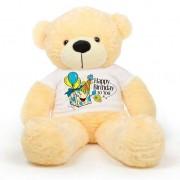 Peach 5 feet Big Teddy Bear wearing a Happy Birthday To You T-shirt