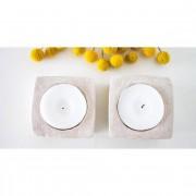 ALTO-STUDIO 2 porta-velas dorado y blanco