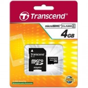 Card Transcend microSDHC 4GB Class 4 cu adaptor SD