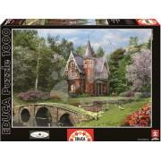 EDUCA 15519 Puzzle Genuine Cobbled Bridge Cottage 1000 bucăţi+Fix Puzzle lipici