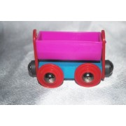 Wooden 1995 Sesame Street Pink & Blue Coal Tender w/ Red Wheels Railway Magnetic Train Car Fits Thomas & Friends, Brio, Lionel