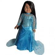 Good Look Doll Dress - Princess Elsa Inspired - For 18 inch Dolls - Beautiful Sparkle Dress