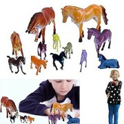 Dazzling Toys 12 Pack Plastic Horse Figures Kids Mixed Lot Toy Model Horses