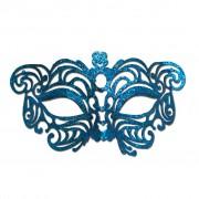 Blue Cat Eye Glitter Masquerade Mask