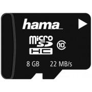 Card de memorie Hama microSDHC, 8GB, Clasa 10, pana la 22 MB/s