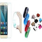 Gionee F103 Pro 0.3mm Curved Edge HD Flexible Tempered Glass with Nylon Micro USB Cable and Micro USB OTG Adaptor