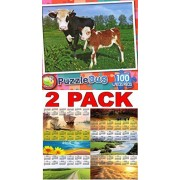 Baby Calf And Mother Puzzlebug 100 Pieces Jigsaw Puzzle + Free Bonus 2016 Magnetic Calendar Bundle 2 Items
