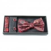 Set papion, butoni si batista, print floral rosu cu negru