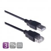 EW9622 3m USB A USB A Zwart USB-kabel