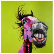 Tableau design 'HORSE' entièrement peint à la main 120x120cm