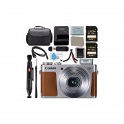 Canon PowerShot G9 X Digital Camera (Silver) 0924C001 + NB-13L Lithium Ion Battery + Sony 64GB SDXC Card + Carrying Case + Memory Card Wallet + Card Reader + Micro HDMI Cable + Flexible Tripod Bundle