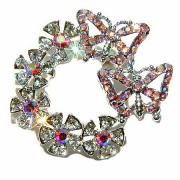 Flower Wreath Butterfly Swarovski Crystal Brooch