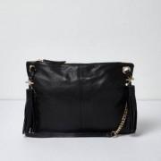 River Island Womens Black leather tassel cross body bag