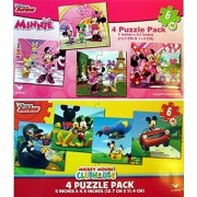 Disney Jigsaw Puzzles For Kids Mickey Mouse & Minnie Mouse 8 Puzzles (6 Pieces Each)