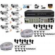 Kit videosorveglianza DVR 8canali Cloud P2P Hdmi telecamere 1200TVL 49Led + cavi