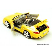 Motor Max 1:18 Porsche 911 Turbo Cabriolet Die-Cast Collectors Model Car (Yellow) with Openable Doors