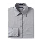 ランズエンド LANDS' END メンズ・ノーアイロン・スーピマ・ピンポイント/無地/ストレートカラー/ベーシックフィット/長袖/シャツ(サーフグレー)