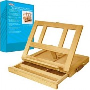 US Art Supply Solana Adjustable Wood Desk Table Easel with Storage Drawer Premium Beechwood