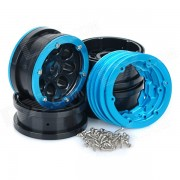 Jante moyeu de la roue universelle de remplacement w / entretoises & vis à 01:10 modèle de voiture - noir + bleu (4PCS)