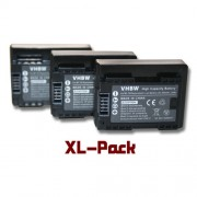 vhbw 3x batterie 800mAh (3.6V) Set avec Infochip pour caméra Canon Legria HF R706, Legria HF R76, Legria HF R78 comme BP-709.