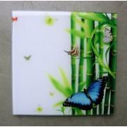 glasschilderij vlinder + bamboe 20 cm