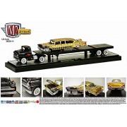 1958 Chevrolet Lcf (Black) & 1958 Chevrolet Impala (Gold) (14 04) M2 Machines * Auto Haulers Release 11 * 2014 Castline Premium Edition 1:64 Scale Die Cast Vehicle Set (1 Of Only 5,000 Pieces)