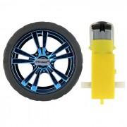 3 ~ 7.2V doble eje TT engranaje Motor + 65 mm rueda para coche inteligente
