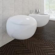 vidaXL Závěsná keramická toaleta a bidet set - bílá