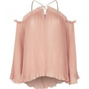 River Island Light pink pleated cold shoulder blouse