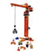 Plan Toys Plan City Wooden Miniature Crane With Accessories, 11 Pieces