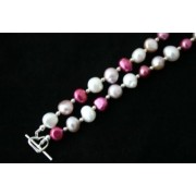 """19.5"""" White & Pink Baroque Freshwater Pearl Necklace"""