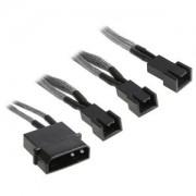Cablu adaptor BitFenix Alchemy 4-pini Molex la 3x 3-pini 5V, 20cm, silver/black, BFA-MSC-M33F5VSK-RP