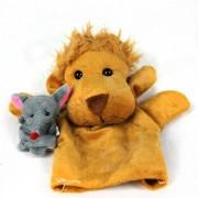 Lindo rompecabezas Finger manga Lion + Mouse Toy Doll - amarillo + gris