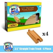 Four (4) Pcs of 3.5 Inch Straight Wooden Train Tracks compatible with THomas the Tank Engine. Made by Conductor Carl