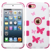 Funda Protector Triple Layer Apple Ipod Touch 5G / 6G Blanco / Rosa Mariposas