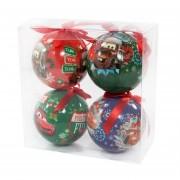 Eminza Set di 4 palle di Natale Cars Disney Multicolor