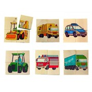 Hess Wooden Toddler Toy Cube Vehicles Puzzle