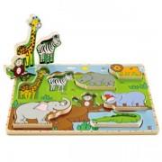 Jucarie eco din lemn Puzzle Animale Salbatice Hape
