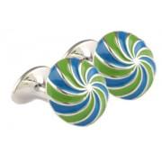Mousie Bean Enamelled Cufflinks Umbrella 134 Blue/Green