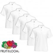 Fruit of the Loom 5 pz Maglietta Polo originale uomo bianca XL