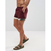 ASOS Swim Shorts In Burgundy With Cut And Sew Detail In Short Length - Burgundy (Sizes: 2XL, S, XS, M, L, XL)