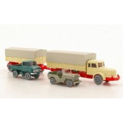 Set WIKING-Tráfico-modelos Nr.7: Krupp titanio 8 con remolque, Jeep con Zughaken y Unimog , Modelo de Auto, modello completo, Wiking / PMS 1:87