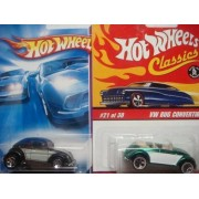 Hot Wheels Volkswagen Beetle Variant Set: Classics Series 2 Green Convertible #21 & The Black #129 Hard Top {2 Pieces} Scale 1/64 Collector by Mattel